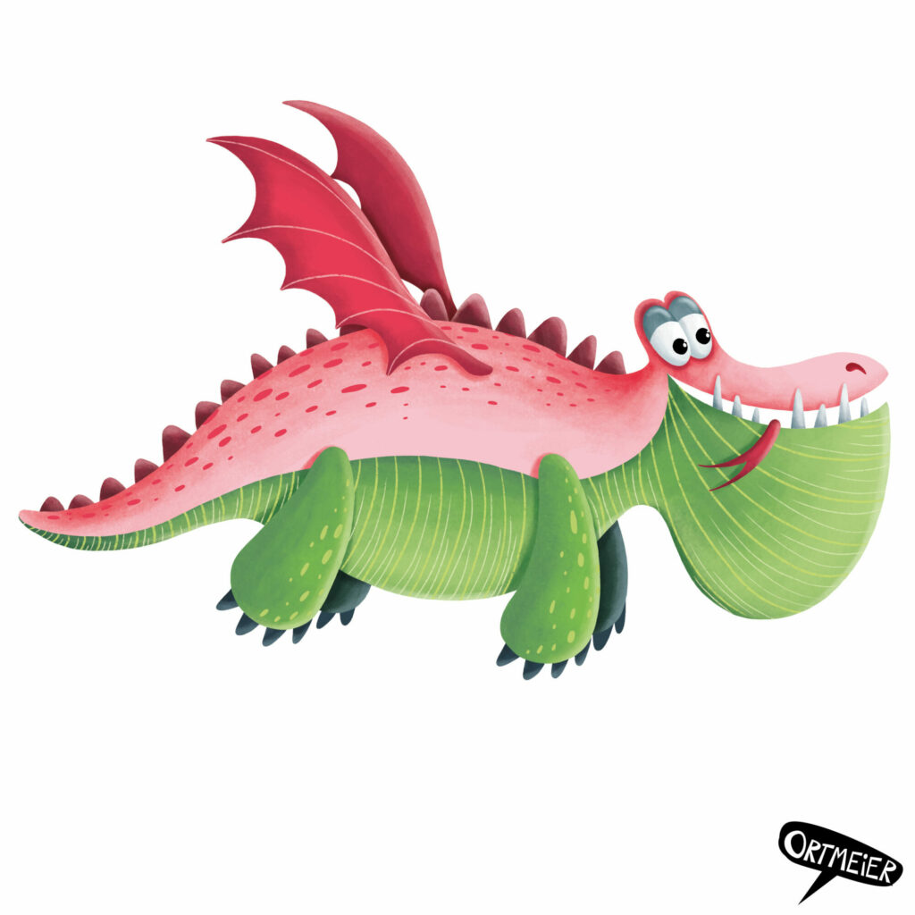 verliebt drachen rosa grün frech flugdrachen dragon in love lovely pink green flying dragon kristine ortmeier illustration kinderbuch childrens book picturebook characterdesign sympathiefigur cover colourful vibrant farbenfroh lebendig