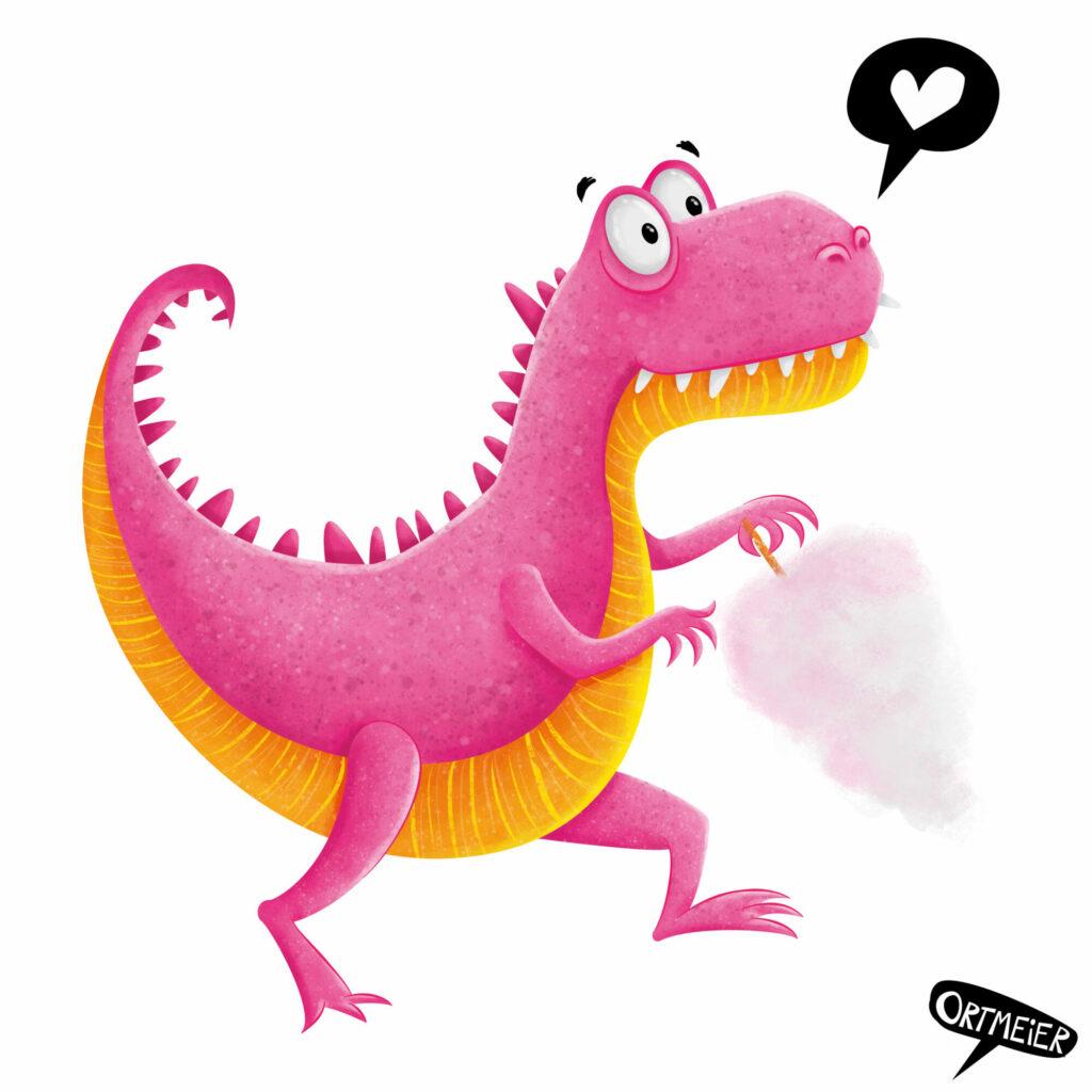 dinosaur dinosaurier pink orange verliebt in love zuckerwatte candy happy gluecklich kristine ortmeier illustration kinderbuch childrens book picturebook characterdesign sympathiefigur cover colourful vibrant farbenfroh lebendig