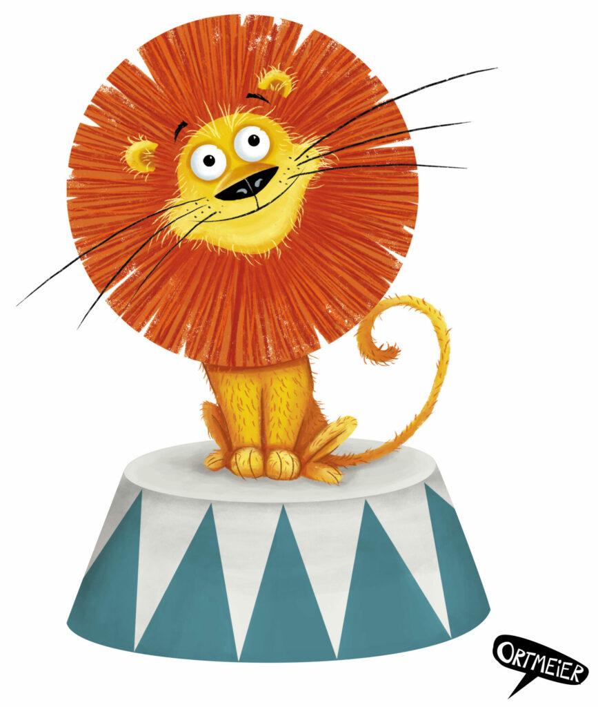circus zirkus loewe lion cute niedlich retro vintage kristine ortmeier illustration kinderbuch childrens book picturebook characterdesign sympathiefigur cover colourful vibrant farbenfroh lebendig