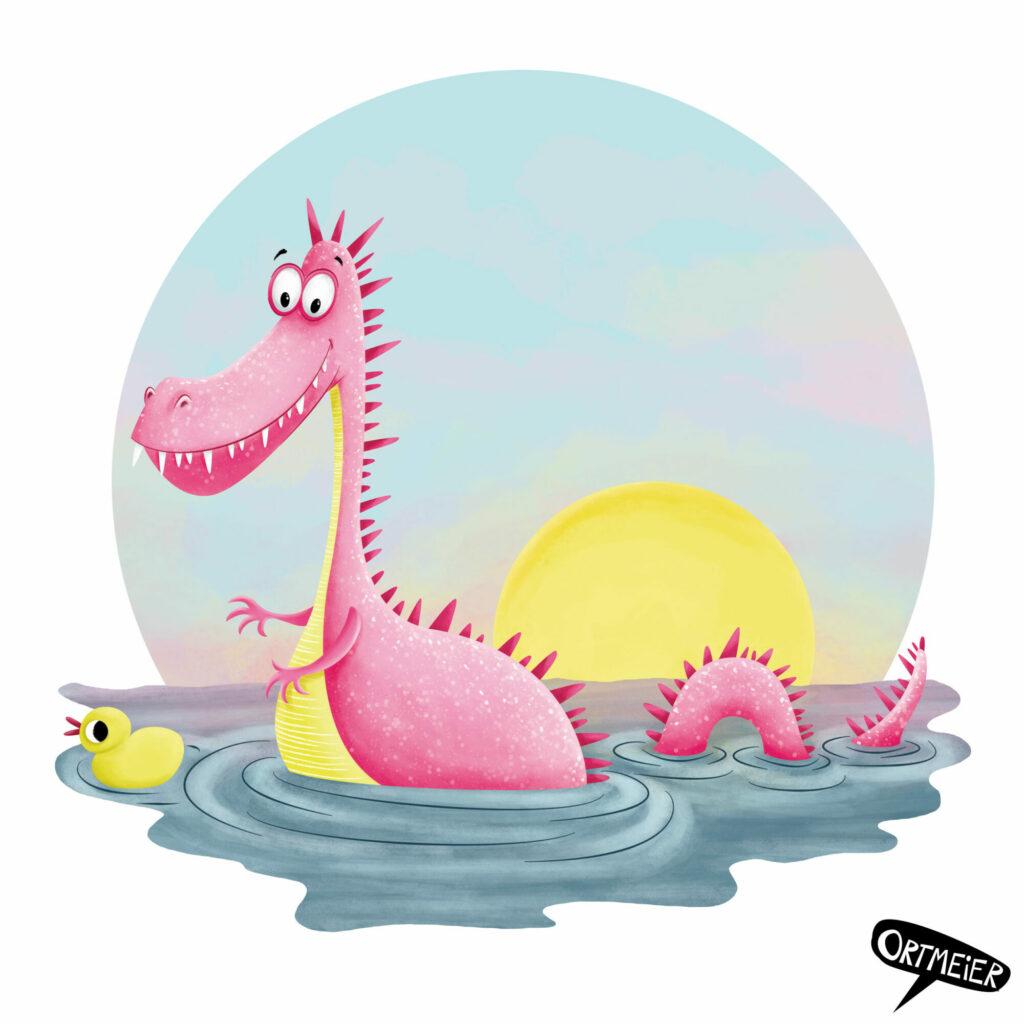 kristine ortmeier illustration kinderbuch childrens book picturebook characterdesign sympathiefigur cover colourful vibrant farbenfroh lebendig drachen wasserdrachen dragon rosa pink ente gelb sonnenuntergang sunset duck